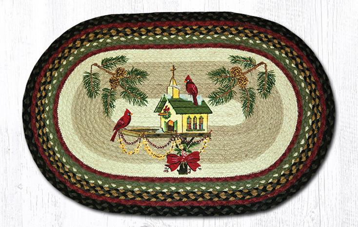 """20"""" x 30"""" Christmas Cardinal Birds on Birdhouse Braided Jute Oval Rug"""