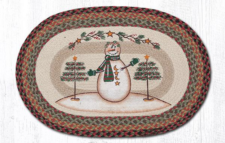 """20"""" x 30"""" Snowman with Moon and Stars Jute Oval Rug by Sandy Clough"""