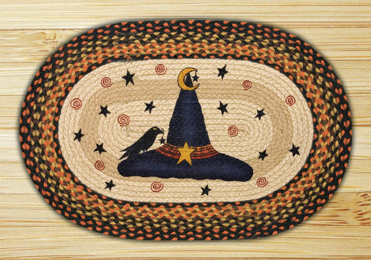 """20"""" x 30"""" Witch Hat Braided Jute Oval Rug by Susan Burd"""