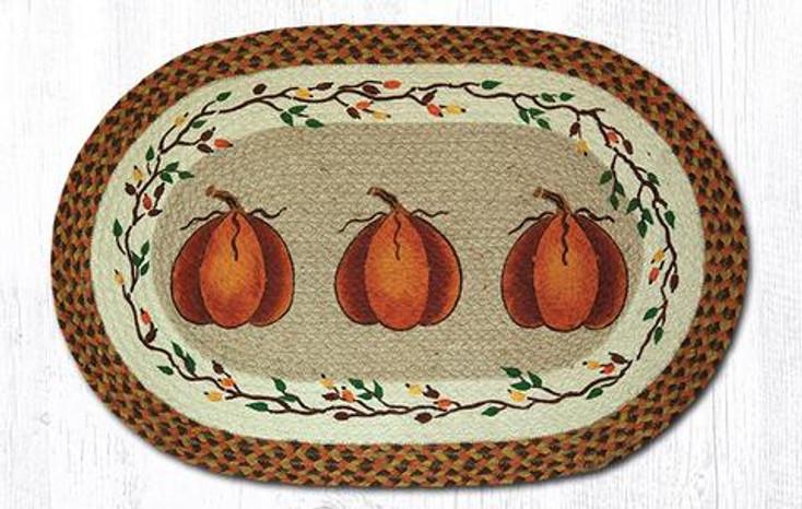 "20"" x 30"" Harvest Pumpkin Braided Jute Oval Rug by Susan Burd"
