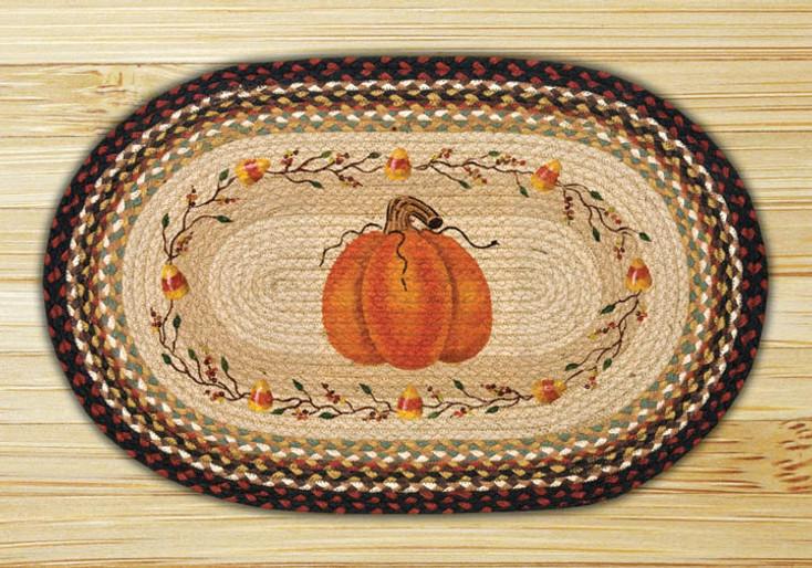 "20"" x 30"" Pumpkin Candy Corn Braided Jute Oval Rug by Susan Burd"