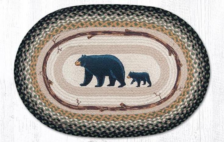 "20"" x 30"" Mama and Baby Bear Braided Jute Oval Rug by Jan Harless"