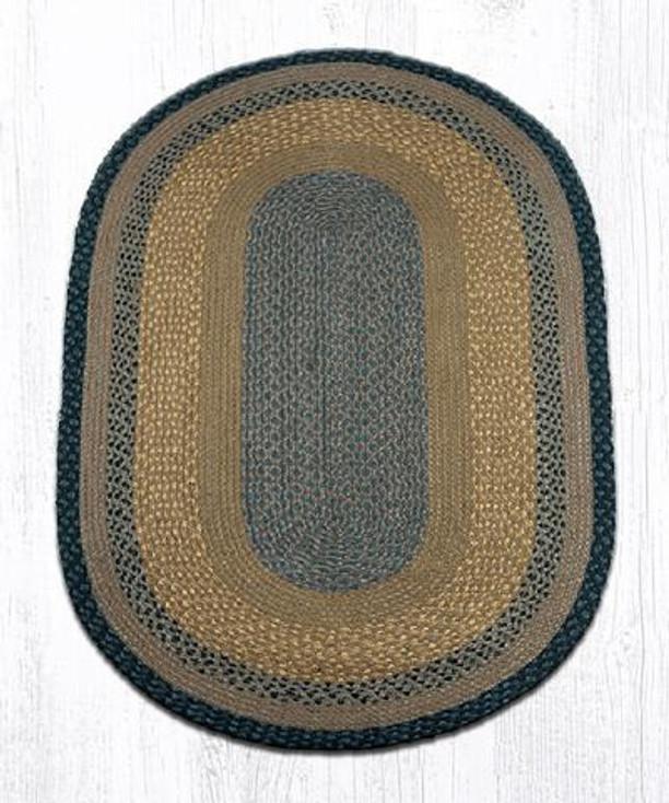 3' x 5' Brown Black Charcoal Braided Jute Oval Rug