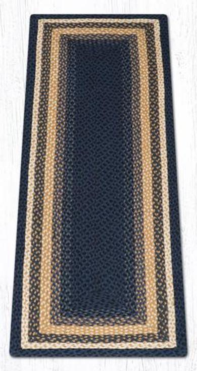 2' x 6' Light Blue Dark Blue Mustard Braided Jute Rectangle Runner Rug