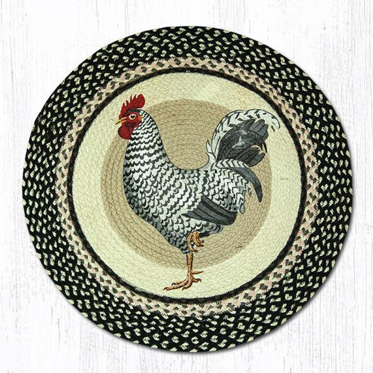 "27"" Rooster Bird Braided Jute Round Rug by Sandy Clough"