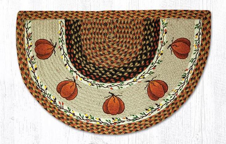 """18"""" x 29"""" Harvest Pumpkins Braided Jute Slice Rug"""