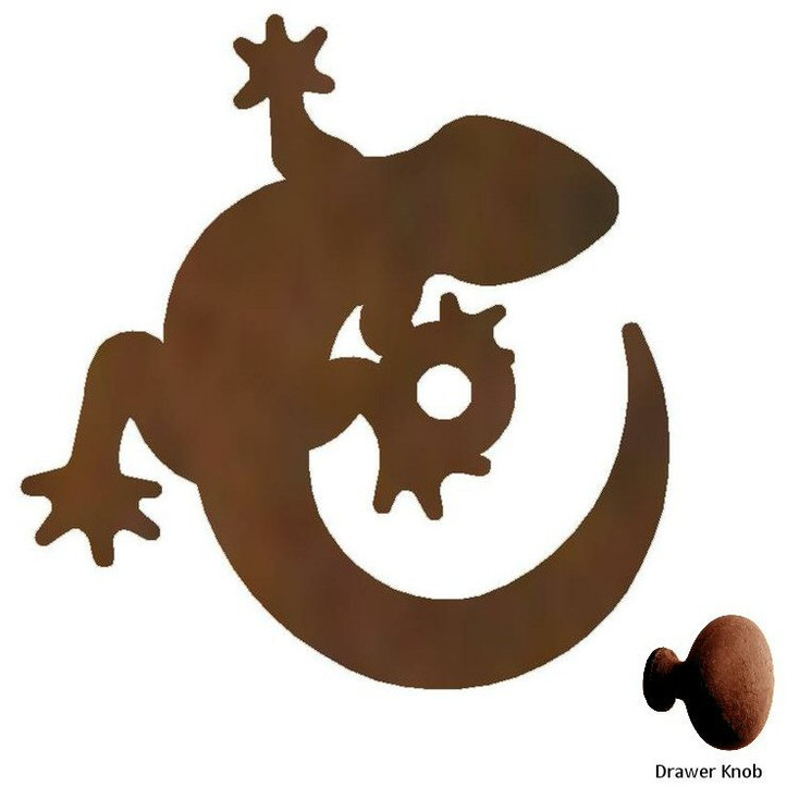 Gecko Lizard Metal Drawer Pull with Back Plate