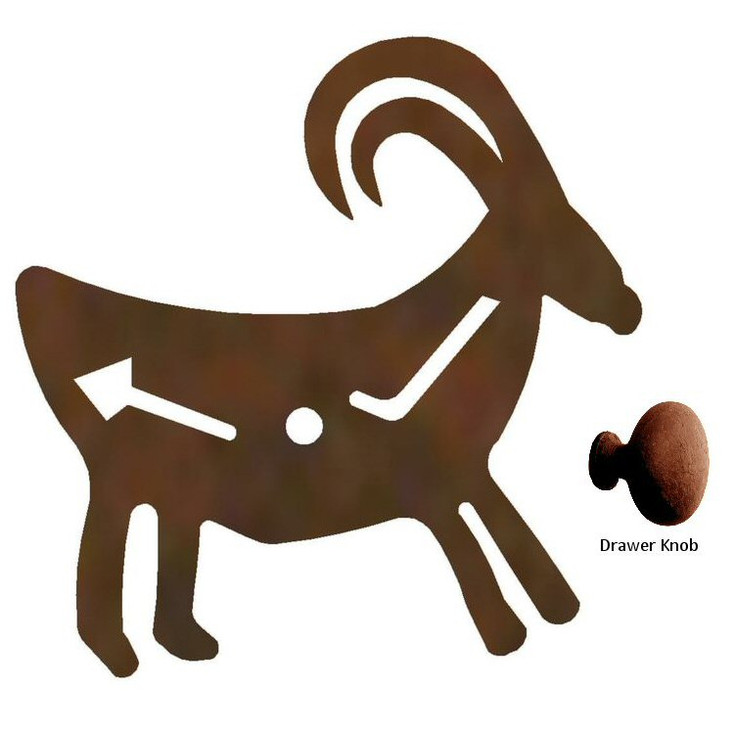 Fetish Goat Metal Drawer Pull with Back Plate