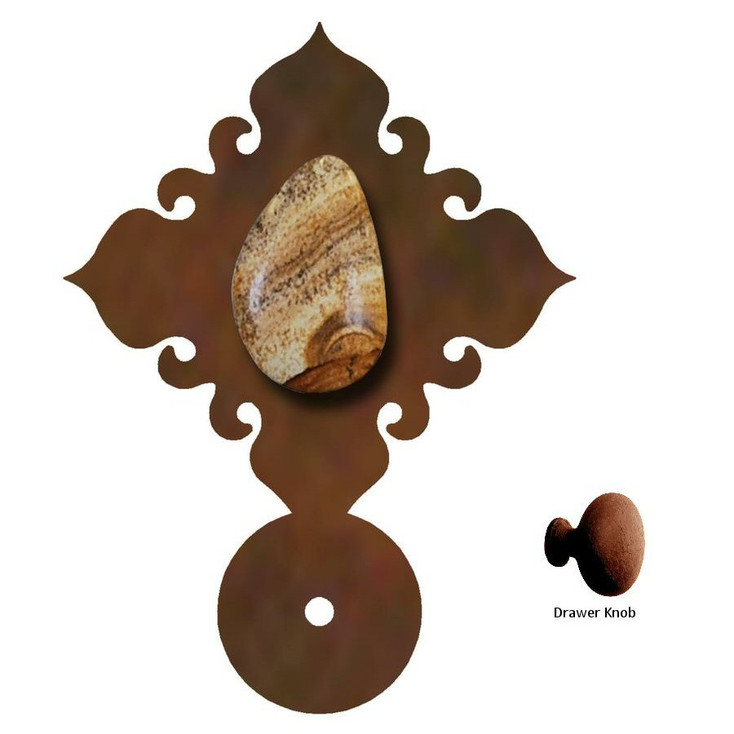 Picture Jasper Stone Metal Drawer Pull with Back Plate