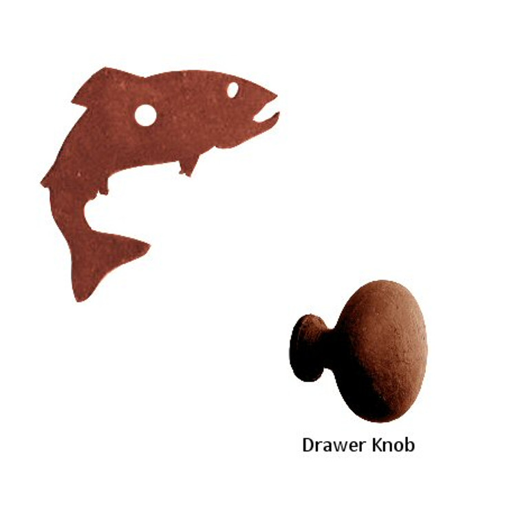 Fish Metal Drawer Pull with Back Plate