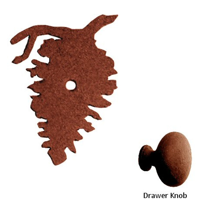 Pine Cone Metal Drawer Pull with Back Plate