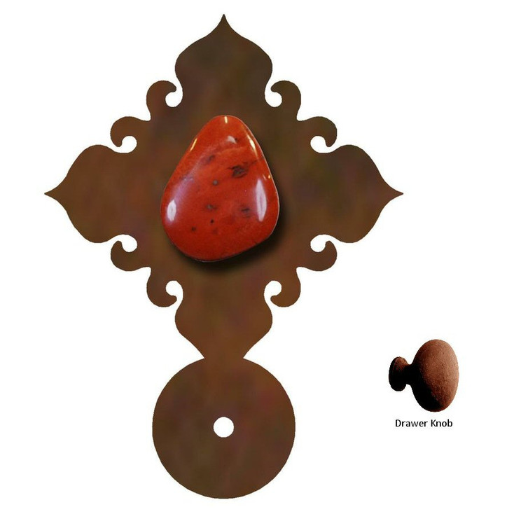 Red Jasper Stone Metal Drawer Pull with Back Plate