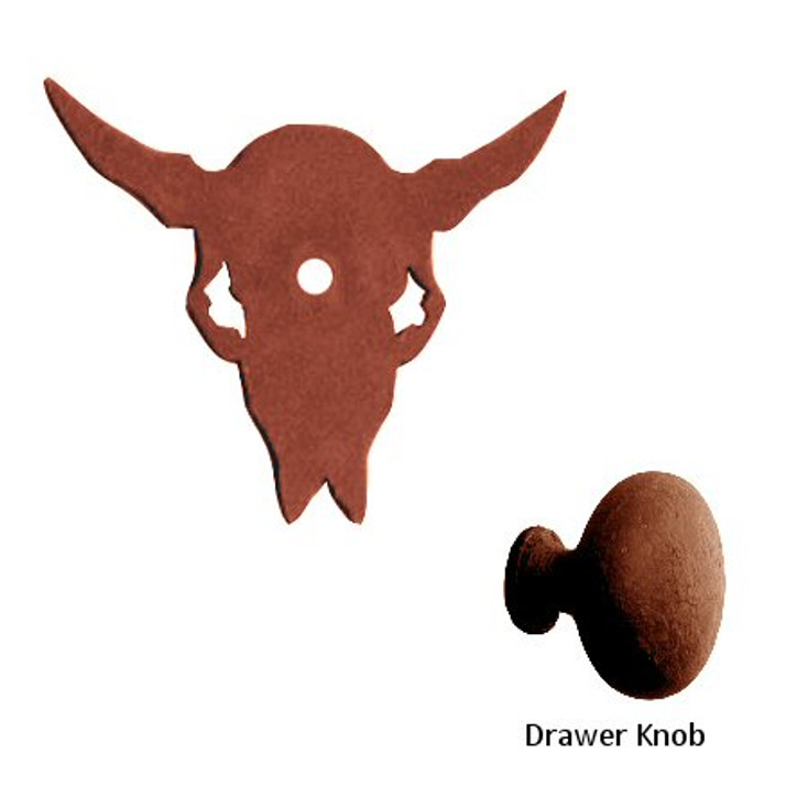 Buffalo Skull Metal Drawer Pull with Back Plate