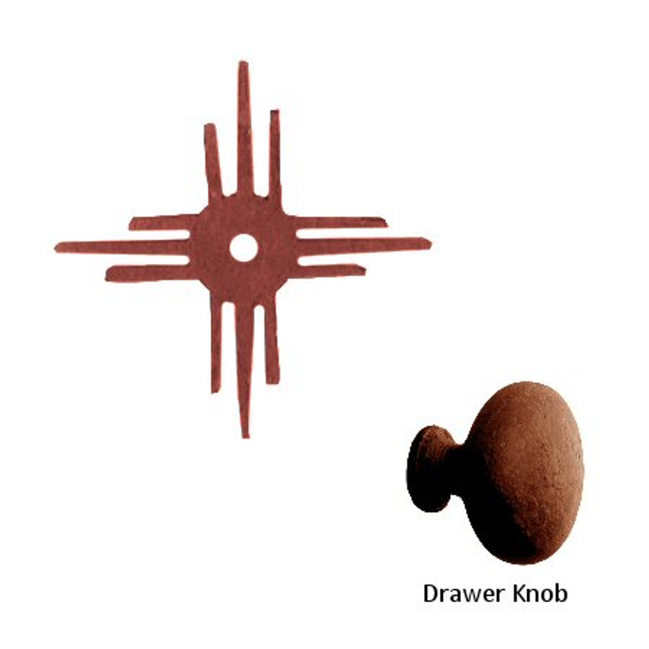 Hopi Sun Metal Drawer Pull with Back Plate