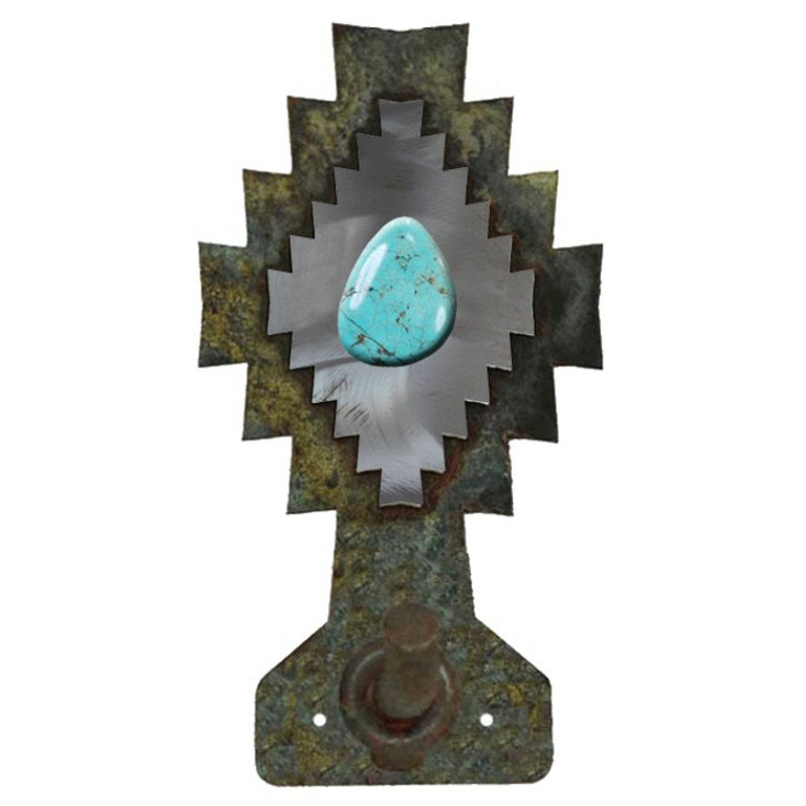 Burnished Desert Diamond with Turquoise Stone Metal Robe Hook