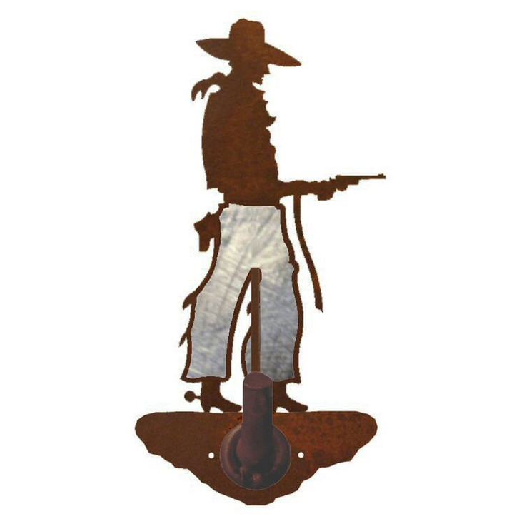 Burnished Cowboy with Pistol Metal Robe Hook