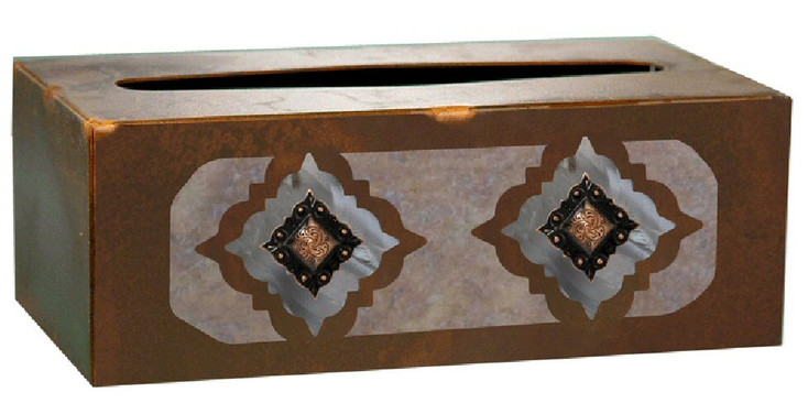 Diamond Copper Concho Metal Flat Tissue Box Cover