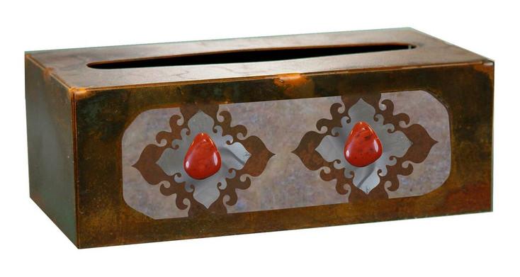 Burnished Red Jasper Stone Metal Flat Tissue Box Cover