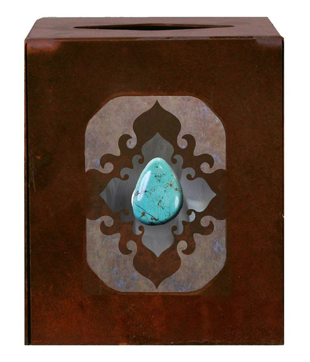 Burnished Turquoise Stone Metal Boutique Tissue Box Cover