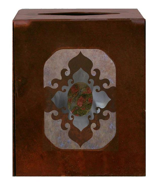 Burnished Unakite Stone Metal Boutique Tissue Box Cover