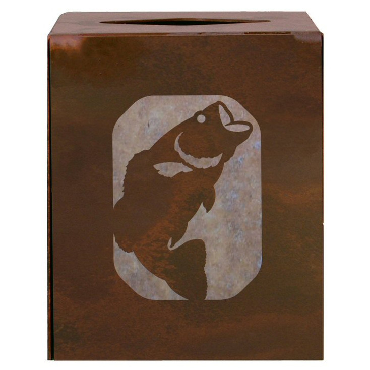 Bass Fish Metal Boutique Tissue Box Cover