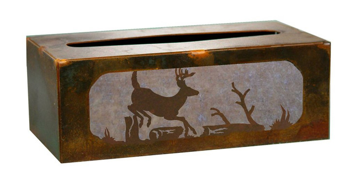 Deer Running Metal Flat Tissue Box Cover