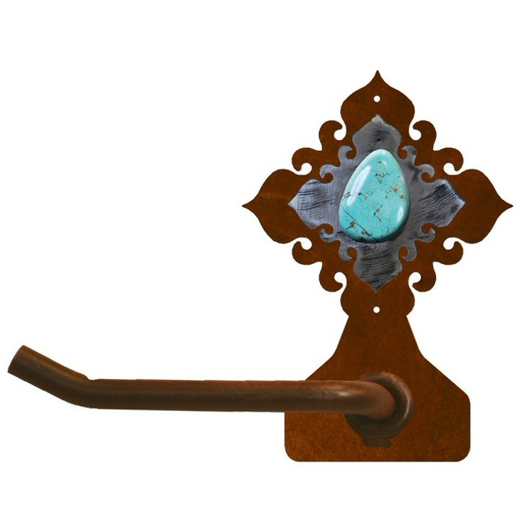 Turquoise Stone Metal Toilet Paper Holder