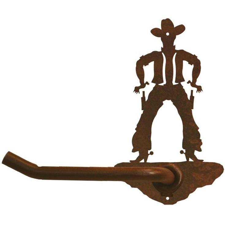 Cowboy Drawing Pistol Metal Toilet Paper Holder