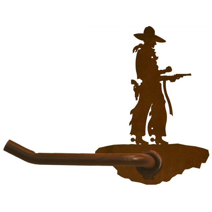Cowboy with Pistol Metal Toilet Paper Holder