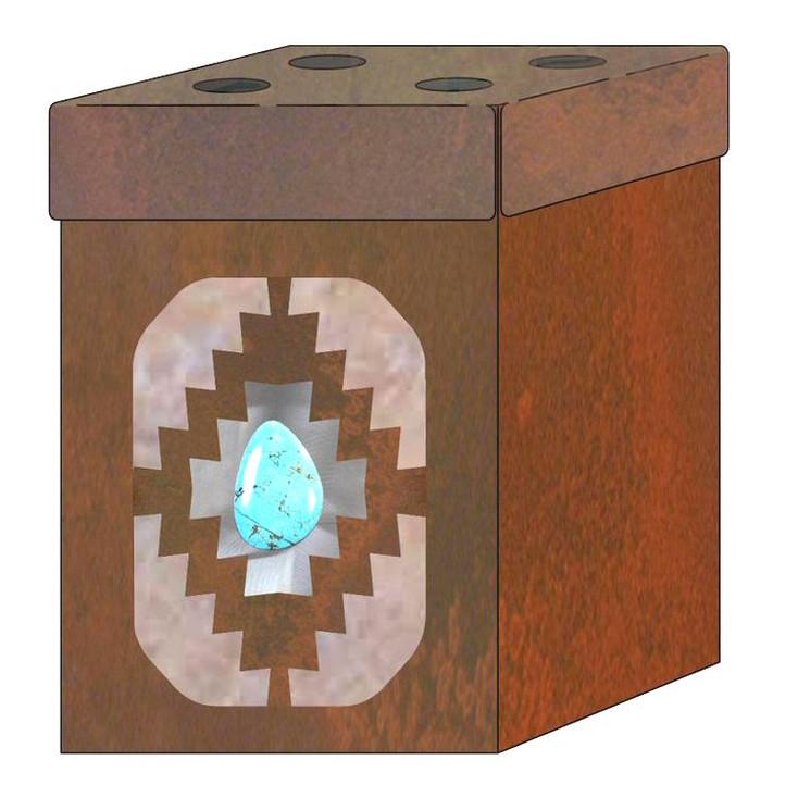 Desert Diamond with Turquoise Stone Metal Toothbrush Holder