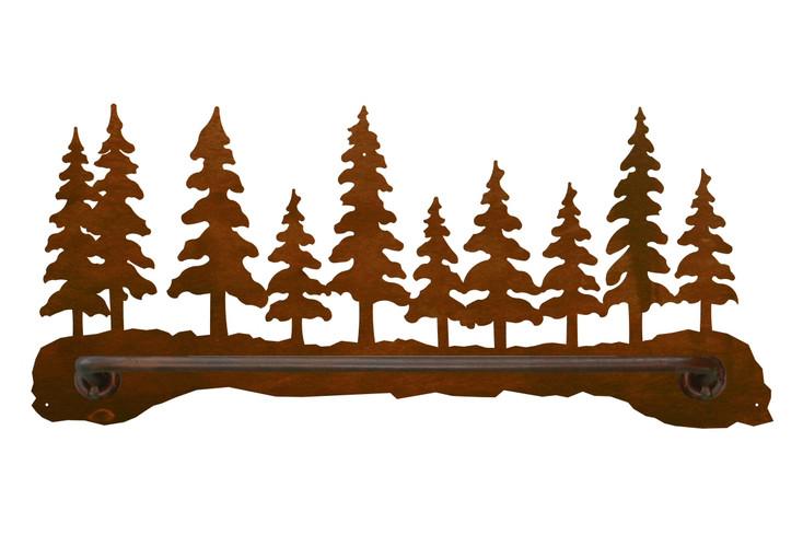 "18"" Pine Forest Scene Metal Towel Bar"