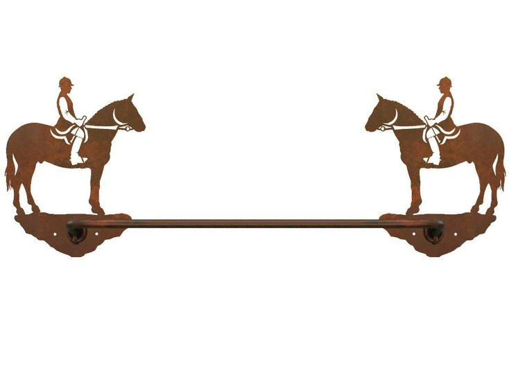"18"" English Horse Rider Metal Towel Bar"