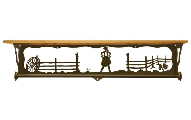 "34"" Cowgirl Scene Metal Towel Bar with Alder Wood Top Wall Shelf"