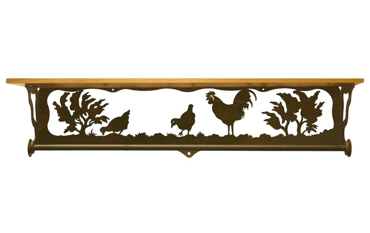 """34"""" Rooster Family Scene Metal Towel Bar with Pine Wood Top Wall Shelf"""