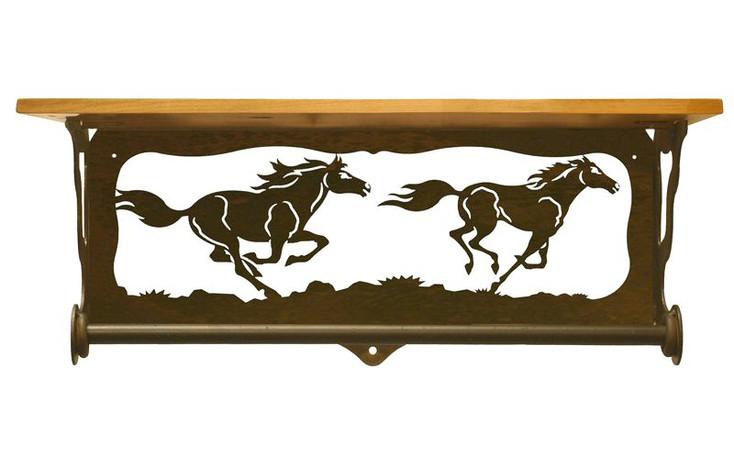 "20"" Wild Horses Scene Metal Towel Bar with Pine Wood Top Wall Shelf"