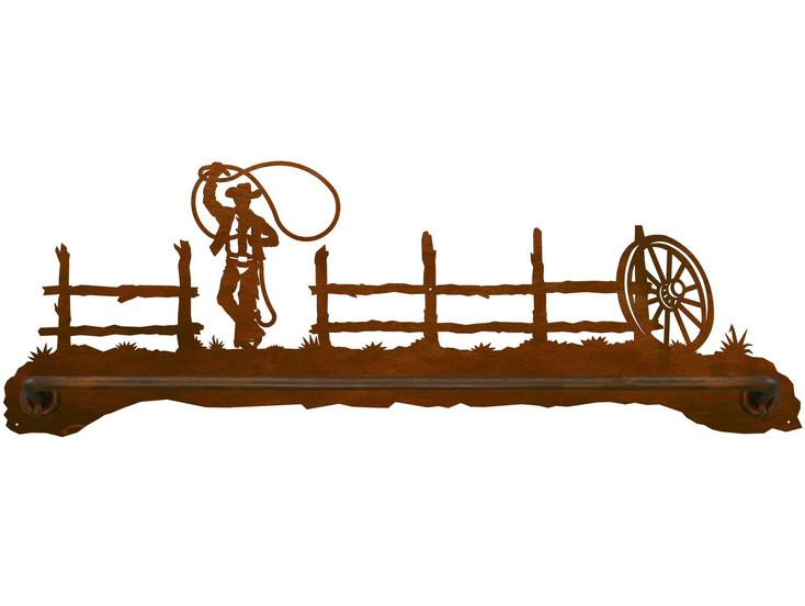 """27"""" Cowboy Roping Scenic Metal Towel Bar"""