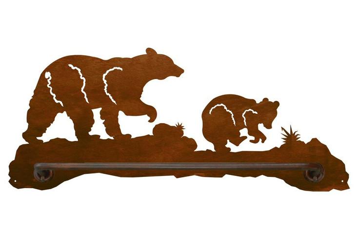"18"" Bear Family Metal Towel Bar"