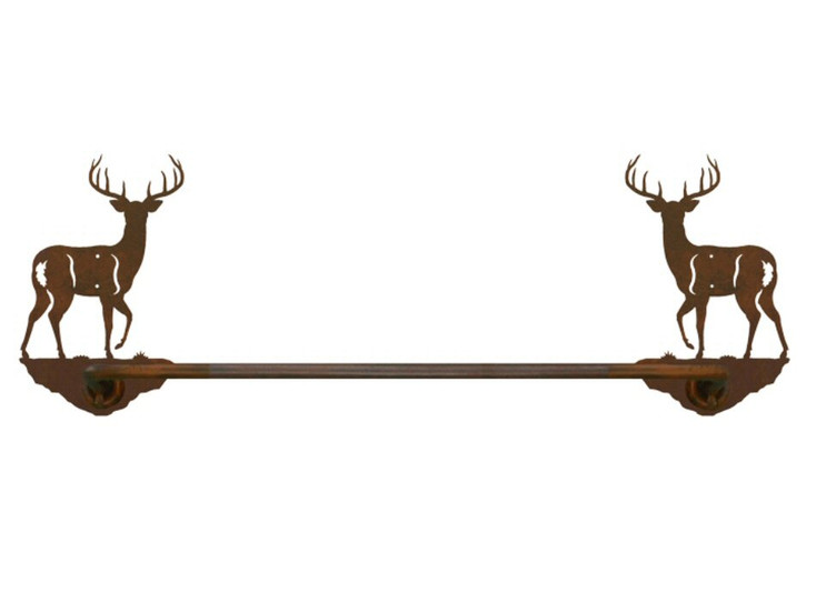 """18"""" Whitetail Deer Metal Towel Bar"""