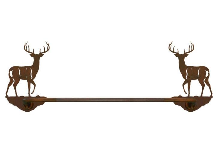 """27"""" Whitetail Deer Metal Towel Bar"""