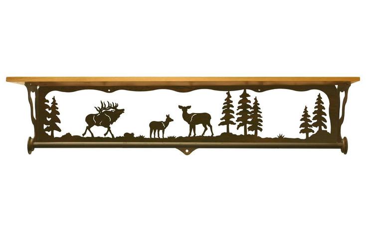 "34"" Elk Family Scene Metal Towel Bar with Pine Wood Top Wall Shelf"