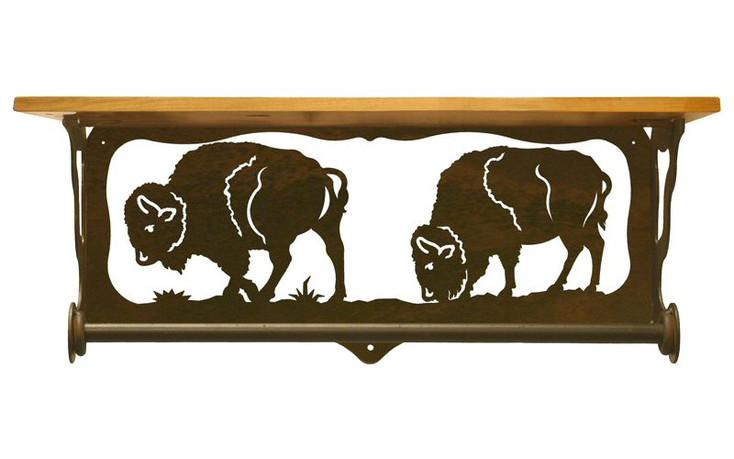 "20"" Buffalo Family Scene Metal Towel Bar with Pine Wood Top Wall Shelf"