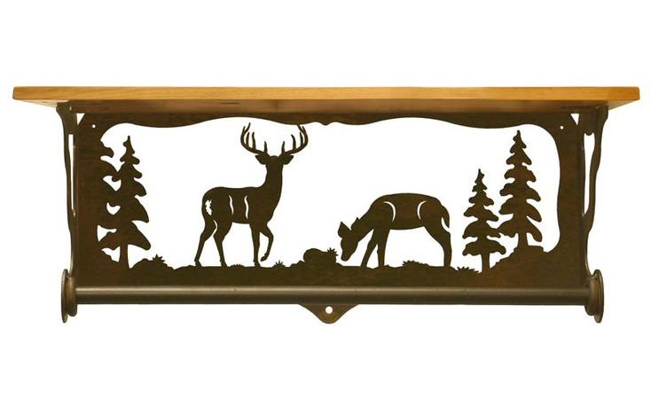 "20"" Deer Family Scene Metal Towel Bar with Pine Wood Top Wall Shelf"