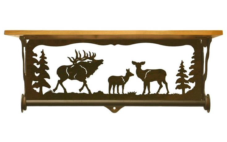 "20"" Elk Family Scene Metal Towel Bar with Pine Wood Top Wall Shelf"