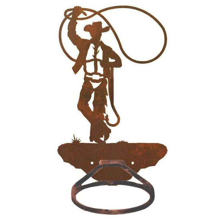 Cowboy Roping Metal Bath Towel Ring