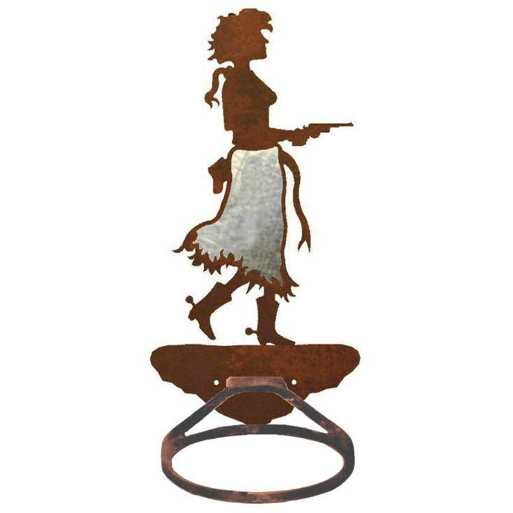Burnished Cowgirl with Pistol Metal Bath Towel Ring