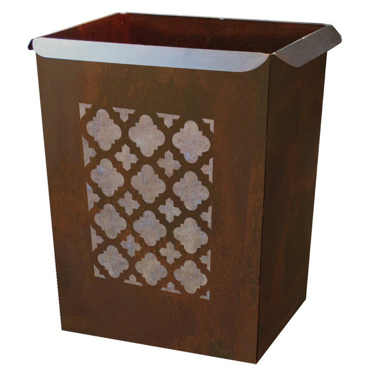 Classic Metal Wastebasket Trash Can