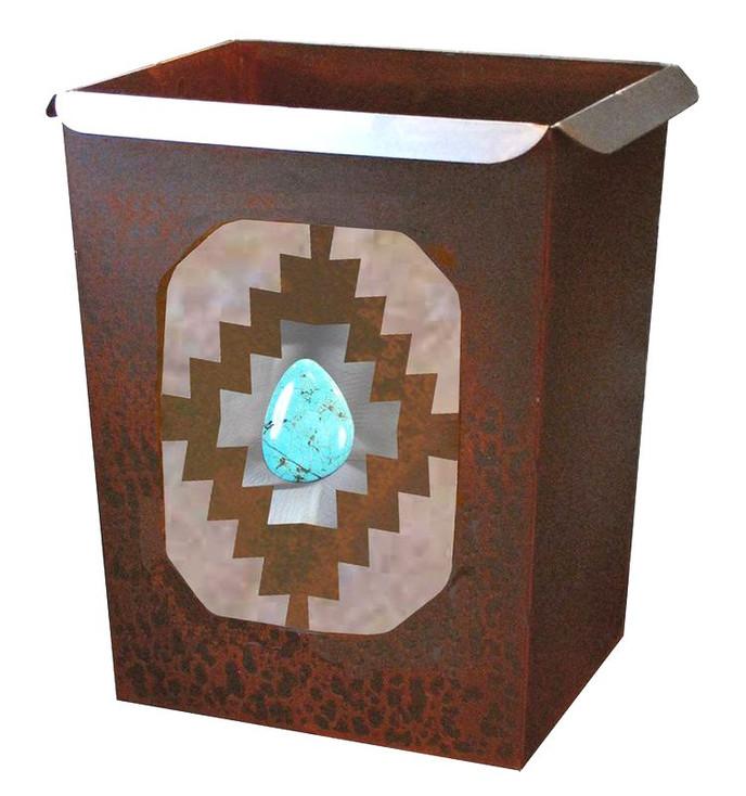 Desert Diamond with Turquoise Stone Metal Wastebasket Trash Can
