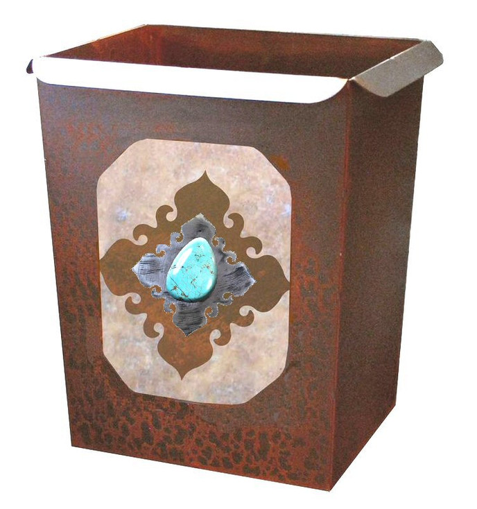 Turquoise Stone Metal Wastebasket Trash Can