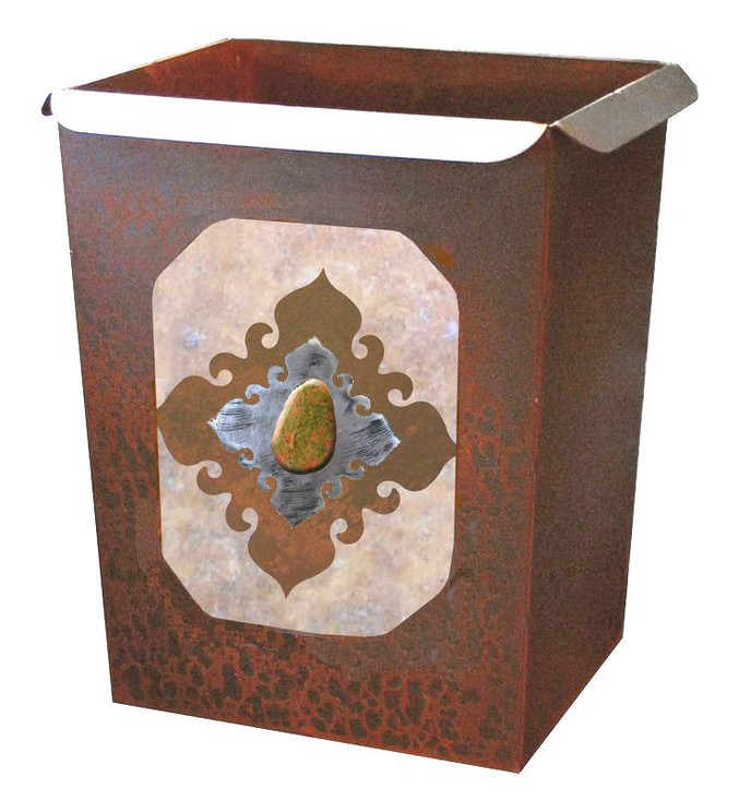 Unakite Stone Metal Wastebasket Trash Can