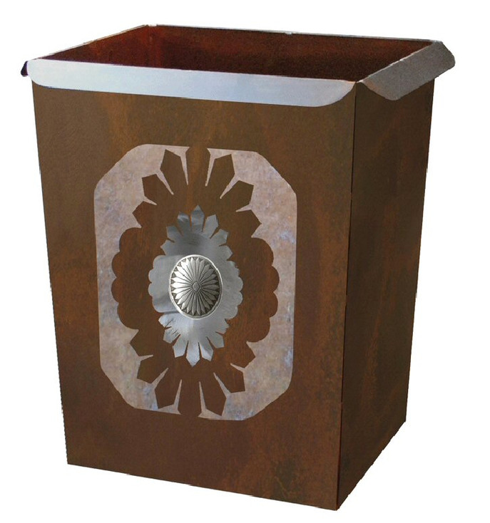 Sunburst Concho Metal Wastebasket Trash Can